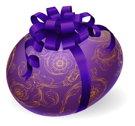 golden daisy: Illustration of a luxury patterned Easter egg wrapped with satin bow