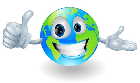 Illustration of a smiling happy globe character giving a thumbs up Stock Vector - 12347295