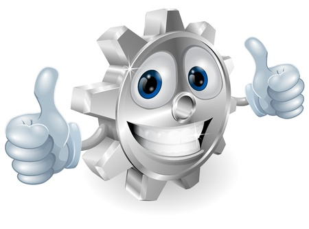 ingenieria industrial: Ilustraci�n del car�cter de engranajes de dibujos animados dando los pulgares para arriba personaje de dibujos animados