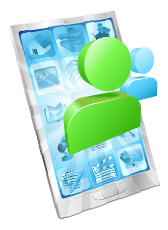 Social media icon coming out of phone screen concept Vector