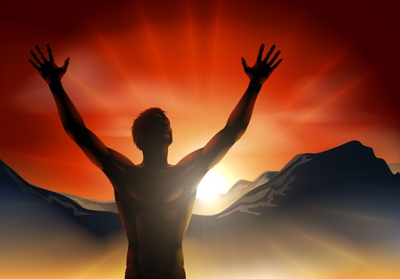 raised hand: A man at sunrise or sunset with hands raised and sun rising over mountains.