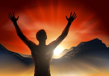 alabando a dios: Un hombre al amanecer o al atardecer, con las manos en alto y la salida del sol sobre las montañas.