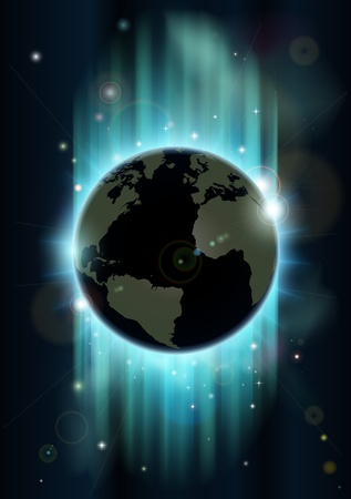 Abstract futuristic background with earth and stars in blues and greens Vector