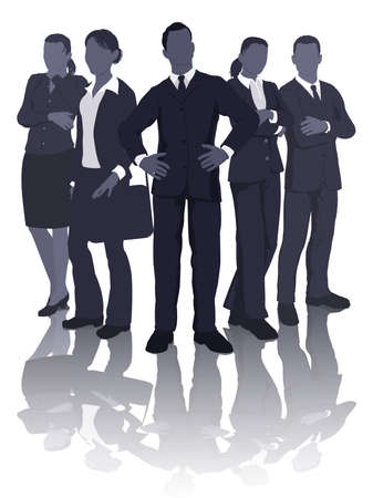 office staff: Illustration of a dynamic professional smart business team
