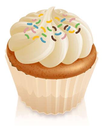 torta panna: Illustrazione di una torta fata cupcake con multicolore sprinkles