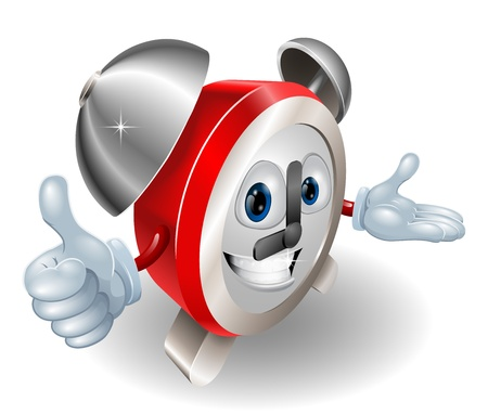 alarmclock: Cute cartoon character alarm clock giving a thumbs up