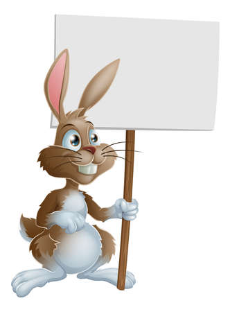 child's: Cute bunny rabbit cartoon character holding up a sign post illustration
