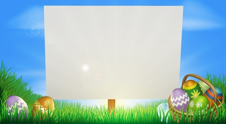 Easter background sign in middle of field with Easter eggs and basket Vector