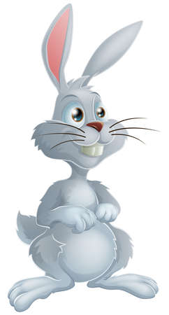 Illustration of a cute white bunny rabbit cartoon character  Vector
