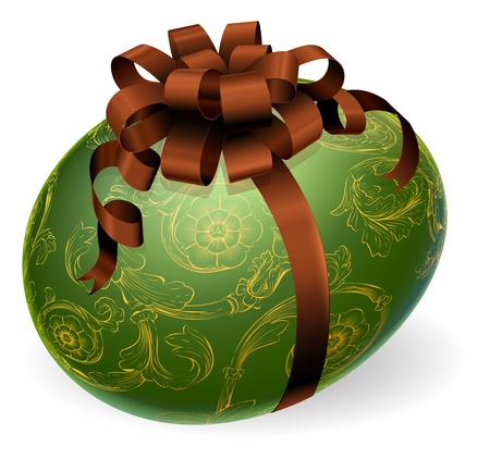 Chic wrapped Easter egg with bow and golden floral patterns Vector