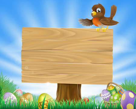 A cute robin bird character sitting on a message board sign surrounded by Easter eggs in a green field Stock Vector - 12492697