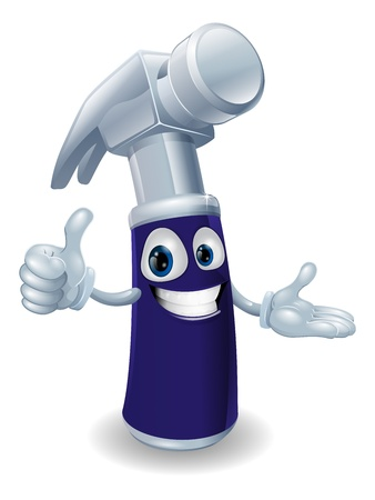 A blue hammer cartoon character doing a thumbs up gesture. Stock Vector - 12492678
