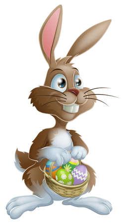 conejo caricatura: Conejo de Pascua del conejo de Pascua celebración llena de huevos de Pascua decorados cesta