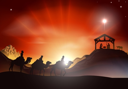Traditional Christian Christmas Nativity scene with the three wise men Illustration
