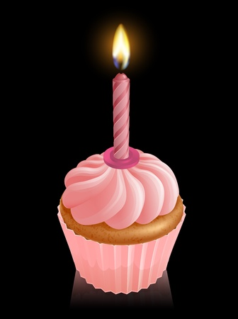 lit candles: Illustration of pink fairy cake cupcake with lit birthday candle