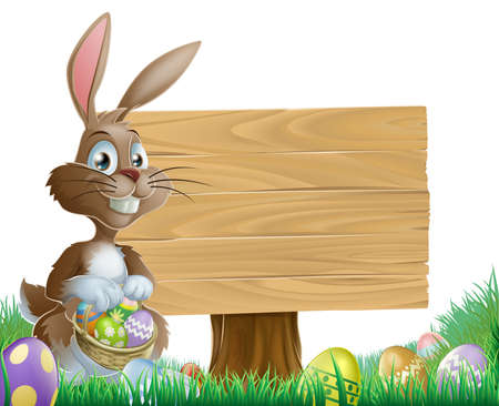 The Easter bunny holding a basket of Easter eggs with more Easter eggs around him by a wood sign board Vector
