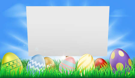 Easter sign illustration in meadow with sun rays and decorated Easter eggs Vector