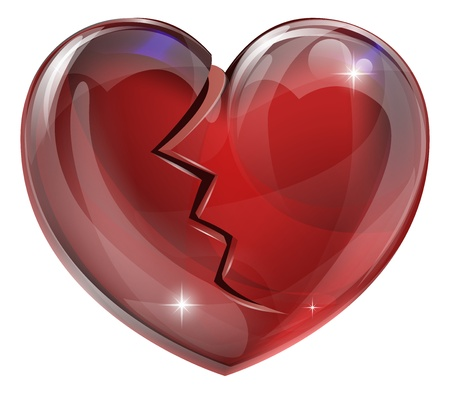 Illustration of a broken heart with a crack. Concept for heart disease or problems, being heartbroken, bereaved or unlucky in love.  Vector