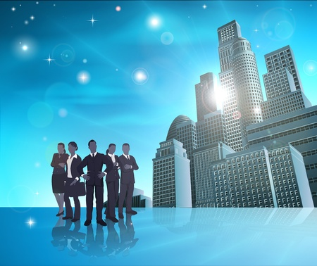 job recruitment: Business team of in front of modern city background. Illustration