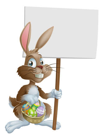 cartoon hare: Easter bunny rabbit holding a basket of Easter eggs and a sign Illustration
