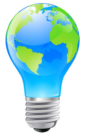 inventions: Illustration of an electric light bulb with a world globe. Conceptual illustration
