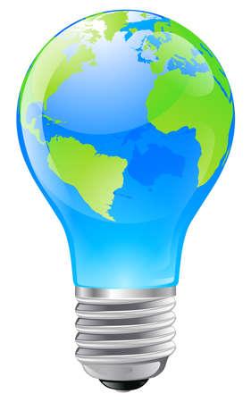 lightbulb idea: Illustrazione di una lampadina elettrica con un globo terrestre. Illustrazione concettuale