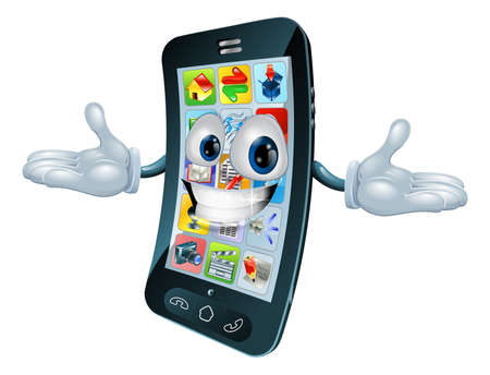 mobile phone screen: Mobile phone mascot character cartoon illustration