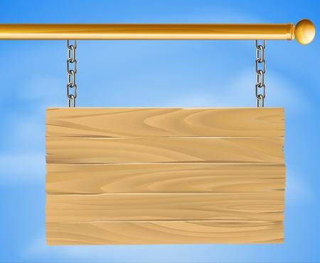 pancarte bois: Signe bois pendaison suspendu avec des cha�nes en pole avec le ciel dans l'illustration de fond