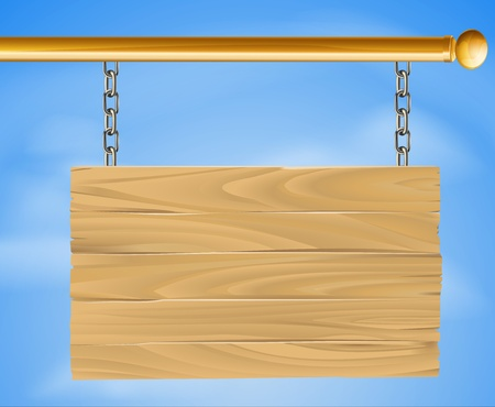 sign pole: Wood sign hanging suspended with chains on pole with sky in the background illustration