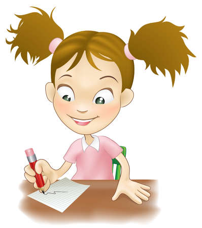 sat: Illustration of a cute young girl sat at her desk writing on paper.