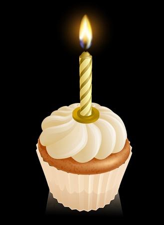 velas de cumpleaños: Hada de la torta magdalena gráfico con velas de cumpleaños de oro en la parte superior Vectores