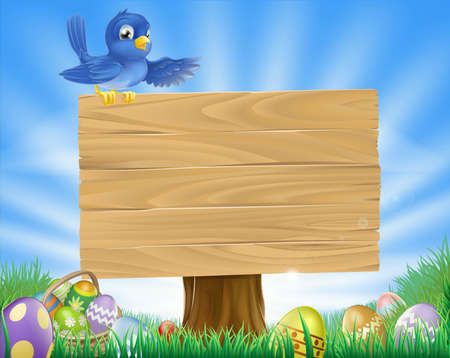 A bluebird Easter cartoon background. Blue bird sits atop  a rustic wooden sign in field of grass with Easter eggs and Easter egg basket. Vector
