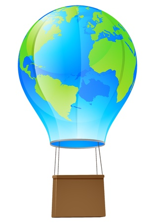 Illustration of a world globe hot air balloon Vector