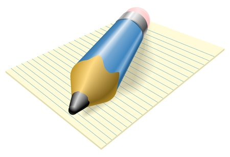 Illustration of a blue pencil with eraser on a pad of lined paper Vector