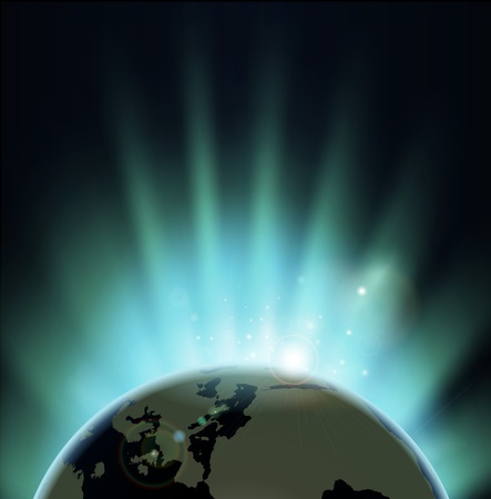 Background with rays of sun rising or setting over the earth  Europe and Africa in front  Vector