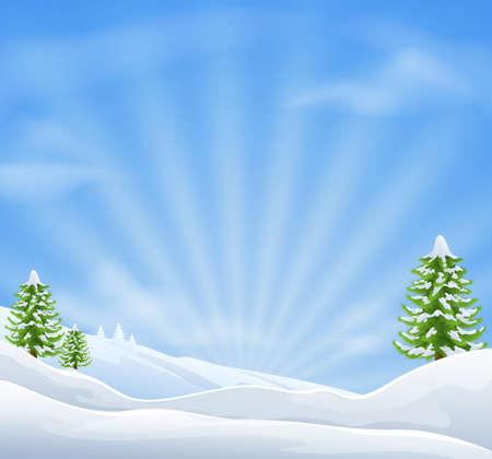 neve montagne: Un'illustrazione di un idilliaco paesaggio coperto di neve, Natale con area di cielo grande per la copia quando viene utilizzato come sfondo vacanza