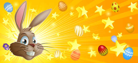 Easter background with Easter bunny stars and Easter eggs Vector