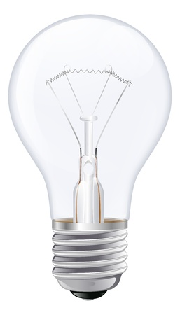 incandescent: An illustration of an incandescent light bulb with male screw base