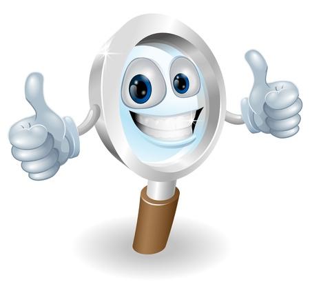 Cartoon character magnifying glass man mascot illustration graphic Stock Vector - 12808887