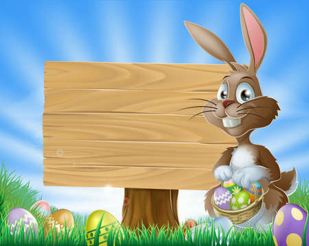 A cute Easter bunny rabbit character standing by a wooden sign holding a basket of decorated Easter eggs surrounded by Easter eggs in a field  Illustration