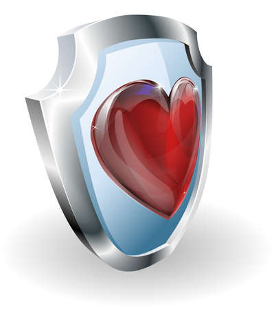 protect icon: Heart on shield icon. A conceptual illustration, could be used in may different ways e.g. to mean loving or liking something or strength in a relationship. Illustration