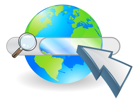 search bar: Conceptual internet illustration with search bar over world globe and arrow cursor