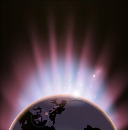 An illustration of the earth eclipsing the sun as it rises over it Vector