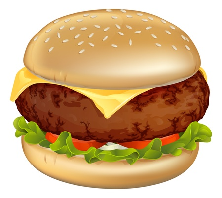 Illustration of a tasty looking classic beef cheeseburger with lettuce, tomato and onion Vector