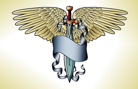 engel tattoo: Illustration eines Retro-Schwert Banner Flügel Tattoo Grafik