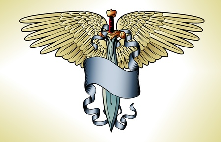 winged: Illustration of a retro sword banner wing tattoo graphic