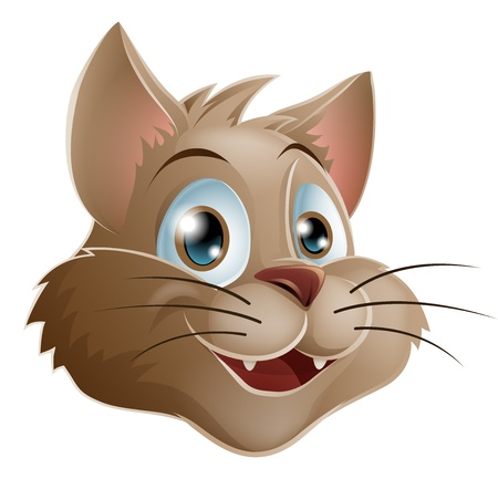 feline: Illustration of a cute smiling cartoon cats face