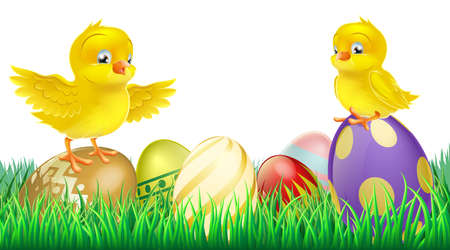 huevo caricatura: Dos lindos felices pollitos amarillos de Pascua en la parte superior de coloridos huevos de Pascua decorados
