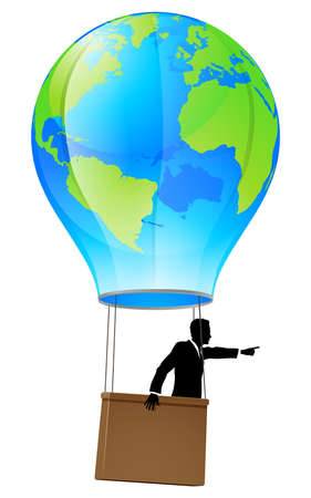 Conceptual illustration of a business man in a business suit in a hot air balloon with a world globe on it pointing forward and going ahead. Vector
