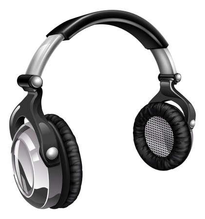 casque audio: Illustration d'une paire d'�couteurs de musique audio Illustration